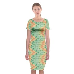 Emerald And Salmon Pattern Classic Short Sleeve Midi Dress by linceazul
