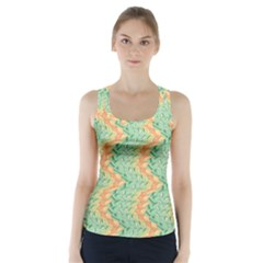 Emerald And Salmon Pattern Racer Back Sports Top by linceazul