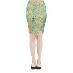 Emerald And Salmon Pattern Midi Wrap Pencil Skirt by linceazul