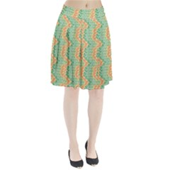 Emerald And Salmon Pattern Pleated Skirt by linceazul