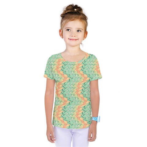 Emerald And Salmon Pattern Kids  One Piece Tee by linceazul
