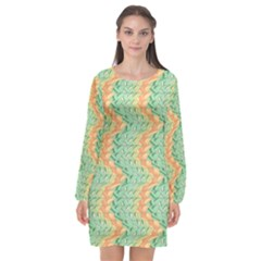 Emerald And Salmon Pattern Long Sleeve Chiffon Shift Dress  by linceazul