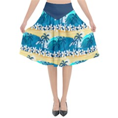 Tropical Surfing Palm Tree Flared Midi Skirt by Wanni