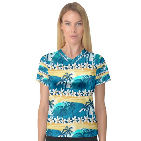 Tropical Surfing Palm Tree Women s V-neck Sport Mesh Tee by pushu