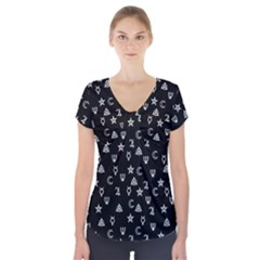 Witchcraft Symbols  Short Sleeve Front Detail Top