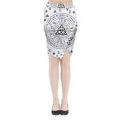Witchcraft Symbols  Midi Wrap Pencil Skirt by Valentinaart