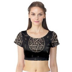 Witchcraft Symbols  Short Sleeve Crop Top (tight Fit) by Valentinaart