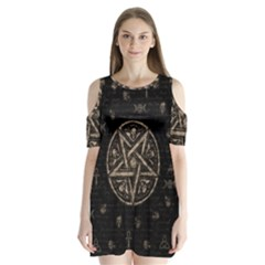 Witchcraft Symbols  Shoulder Cutout Velvet  One Piece
