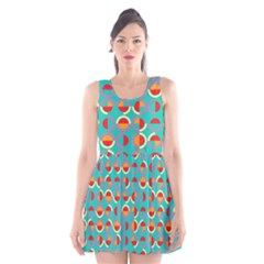 Semicircles And Arcs Pattern Scoop Neck Skater Dress