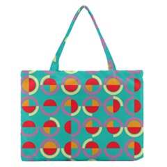 Semicircles And Arcs Pattern Medium Zipper Tote Bag by linceazul