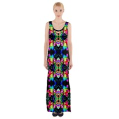 Colorful Bright Seamless Flower Pattern Maxi Thigh Split Dress