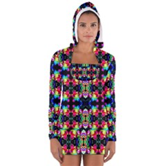 Colorful Bright Seamless Flower Pattern Women s Long Sleeve Hooded T Shirt by Costasonlineshop