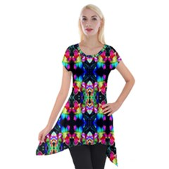 Colorful Bright Seamless Flower Pattern Short Sleeve Side Drop Tunic by Costasonlineshop