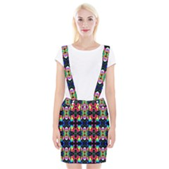 Colorful Bright Seamless Flower Pattern Braces Suspender Skirt by Costasonlineshop