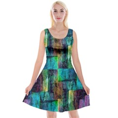 Abstract Square Wall Reversible Velvet Sleeveless Dress by Costasonlineshop
