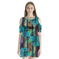 Abstract Square Wall Shoulder Cutout Velvet  One Piece by Costasonlineshop