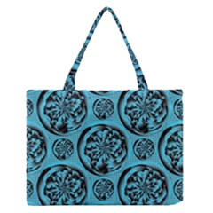 Turquoise Pattern Medium Zipper Tote Bag by linceazul