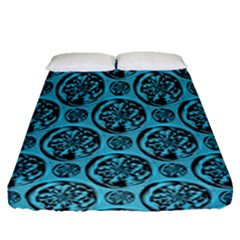Turquoise Pattern Fitted Sheet (queen Size) by linceazul