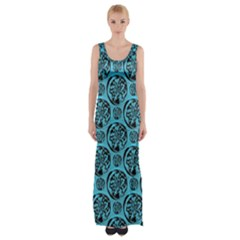 Turquoise Pattern Maxi Thigh Split Dress by linceazul