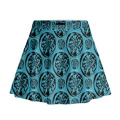 Turquoise Pattern Mini Flare Skirt by linceazul