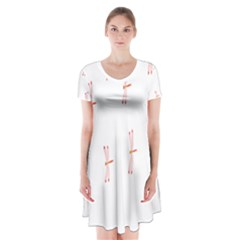 Animal Dragonfly Fly Pink Short Sleeve V Neck Flare Dress by Mariart
