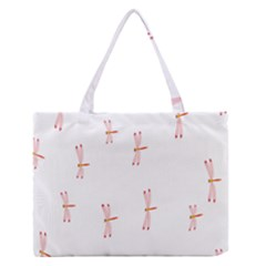 Animal Dragonfly Fly Pink Medium Zipper Tote Bag by Mariart