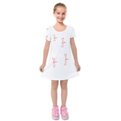 Animal Dragonfly Fly Pink Kids  Short Sleeve Velvet Dress by Mariart