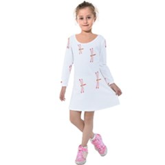 Animal Dragonfly Fly Pink Kids  Long Sleeve Velvet Dress by Mariart
