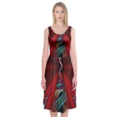 Artistic Blue Gold Red Midi Sleeveless Dress by Mariart