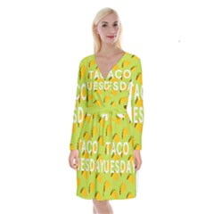 Bread Taco Tuesday Long Sleeve Velvet Front Wrap Dress by Mariart