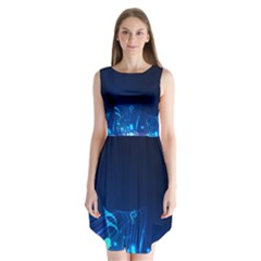 Abstract Musical Notes Purple Blue Sleeveless Chiffon Dress