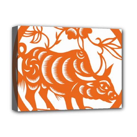 Chinese Zodiac Cow Star Orange Deluxe Canvas 16  X 12