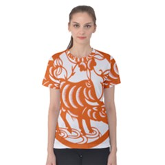 Chinese Zodiac Cow Star Orange Women s Cotton Tee by Mariart