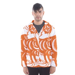 Chinese Zodiac Cow Star Orange Hooded Wind Breaker (men) by Mariart