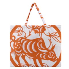 Chinese Zodiac Cow Star Orange Zipper Large Tote Bag by Mariart