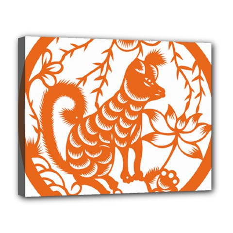Chinese Zodiac Dog Star Orange Canvas 14  X 11  by Mariart