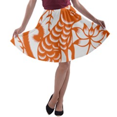 Chinese Zodiac Dog Star Orange A Line Skater Skirt by Mariart
