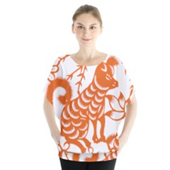 Chinese Zodiac Dog Star Orange Blouse by Mariart