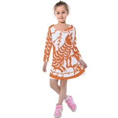Chinese Zodiac Dog Star Orange Kids  Long Sleeve Velvet Dress by Mariart