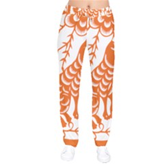 Chinese Zodiac Dog Star Orange Drawstring Pants by Mariart