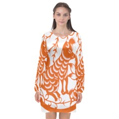 Chinese Zodiac Dog Star Orange Long Sleeve Chiffon Shift Dress
