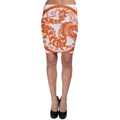 Chinese Zodiac Dragon Star Orange Bodycon Skirt by Mariart