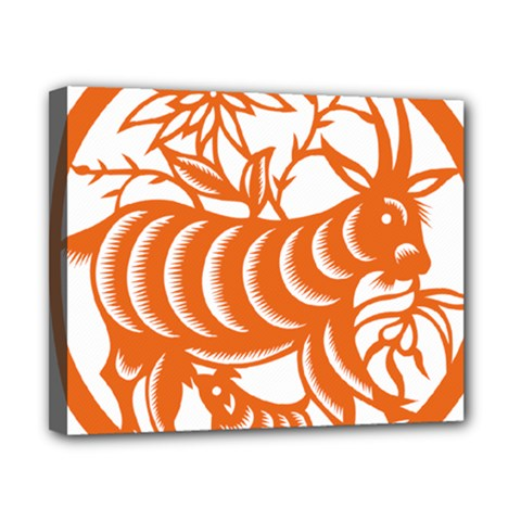 Chinese Zodiac Goat Star Orange Canvas 10  X 8  by Mariart