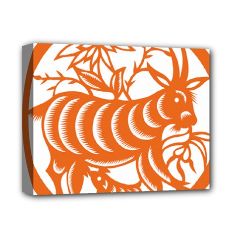 Chinese Zodiac Goat Star Orange Deluxe Canvas 14  X 11  by Mariart