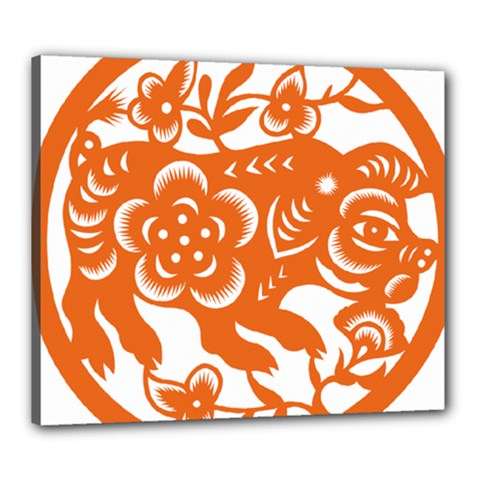 Chinese Zodiac Horoscope Pig Star Orange Canvas 24  X 20  by Mariart
