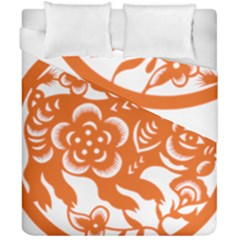 Chinese Zodiac Horoscope Pig Star Orange Duvet Cover Double Side (california King Size) by Mariart