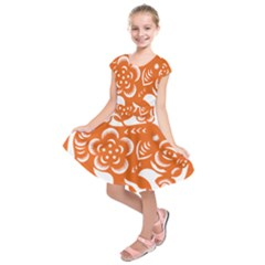 Chinese Zodiac Horoscope Pig Star Orange Kids  Short Sleeve Dress by Mariart
