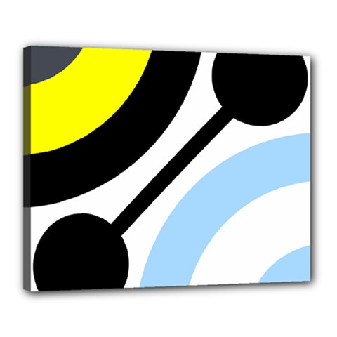 Circle Line Chevron Wave Black Blue Yellow Gray White Canvas 20  X 16  by Mariart