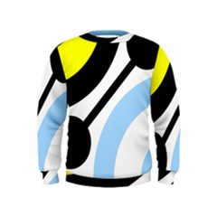 Circle Line Chevron Wave Black Blue Yellow Gray White Kids  Sweatshirt by Mariart