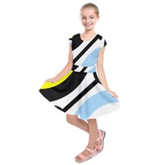 Circle Line Chevron Wave Black Blue Yellow Gray White Kids  Short Sleeve Dress by Mariart